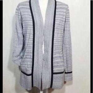 EUC Lou & Gray blue striped open front cardigan  S